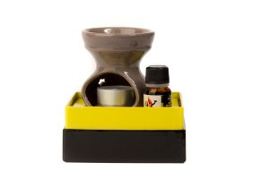 Ceramic Burner with Aromatic Essence of Eritrea and Tealight - Carta Aromatica d'Eritrea®